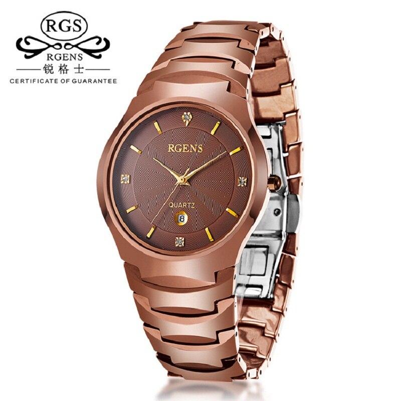 business men watch Rose gold tungsten steel quartz clocks Luxury male wristwatch waterproof calendar diamond RGENS brand clocks clocks