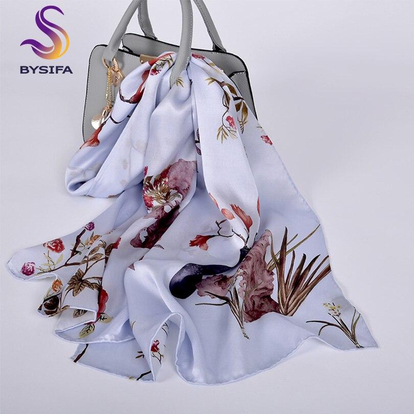 [BYSIFA] Chinese Style Peony Long Silk   Scarf   Shawl Ladies Fashion 100% Silk   Scarves     Wraps   Spring Fall Grey Blue Neck   Scarves