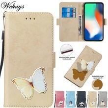 Wekays для huawei nova 3 par al00 кожаный чехол с бабочкой из