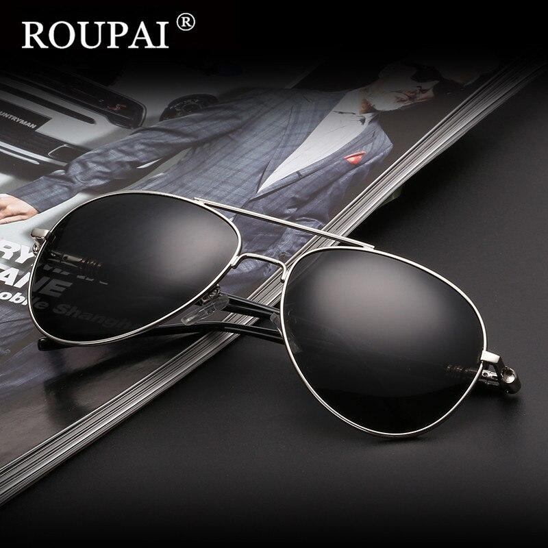latest sunglasses 4cb5  ROUPAI Brand 2017 Classic Men's Polarized Sunglasses Stainless Steel Frame  Coating Glasses Male Sun Glasses Men Shades Oculos