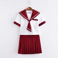 2018 Japanese Short Sleeve Sailor Suit Girls Women Jk Sets Summer Style Cool Novelty Female School Uniform Cool Cosplay Sets