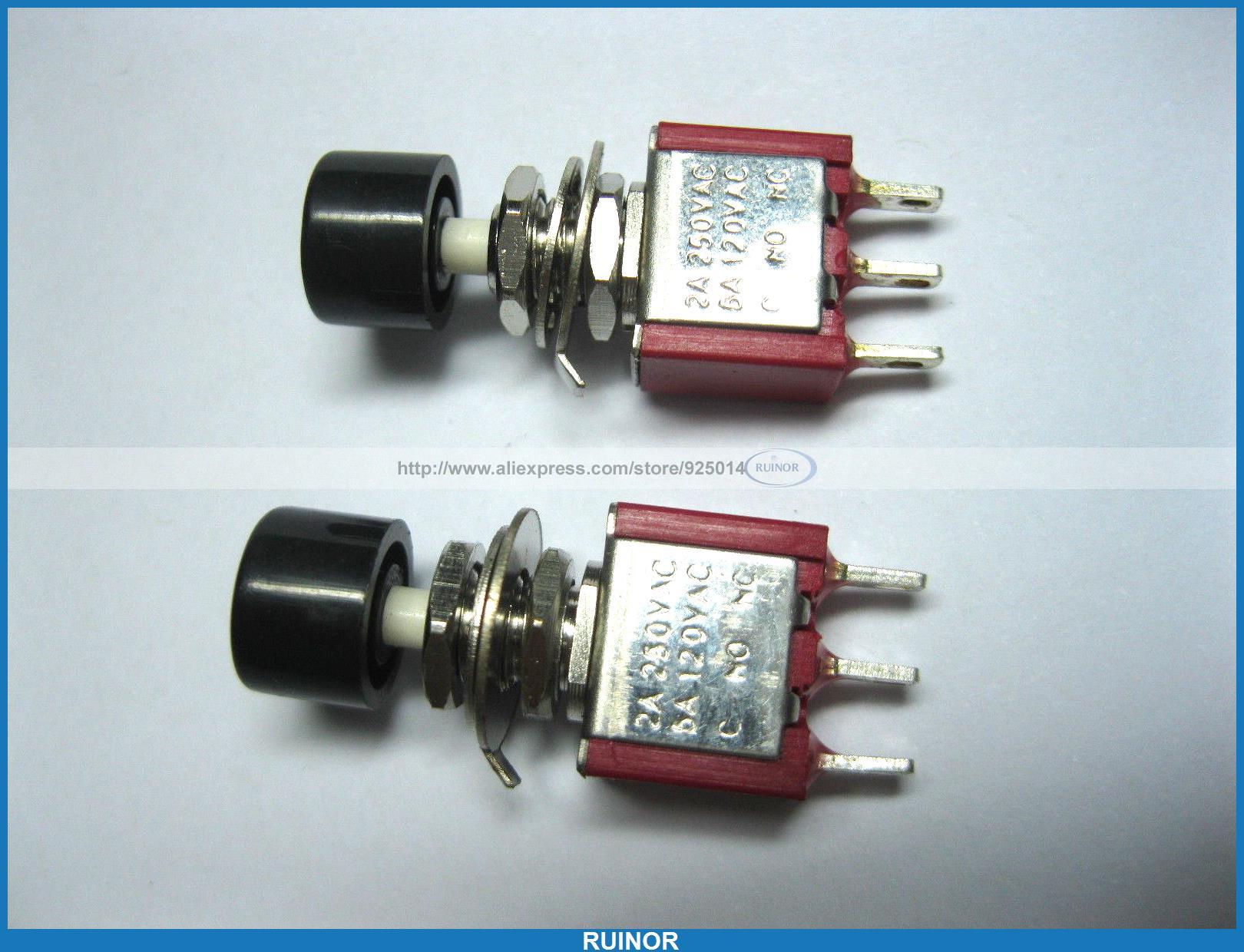 ФОТО 50 x Momentary Black Push Button Switch 250V 2A 5A 3pin