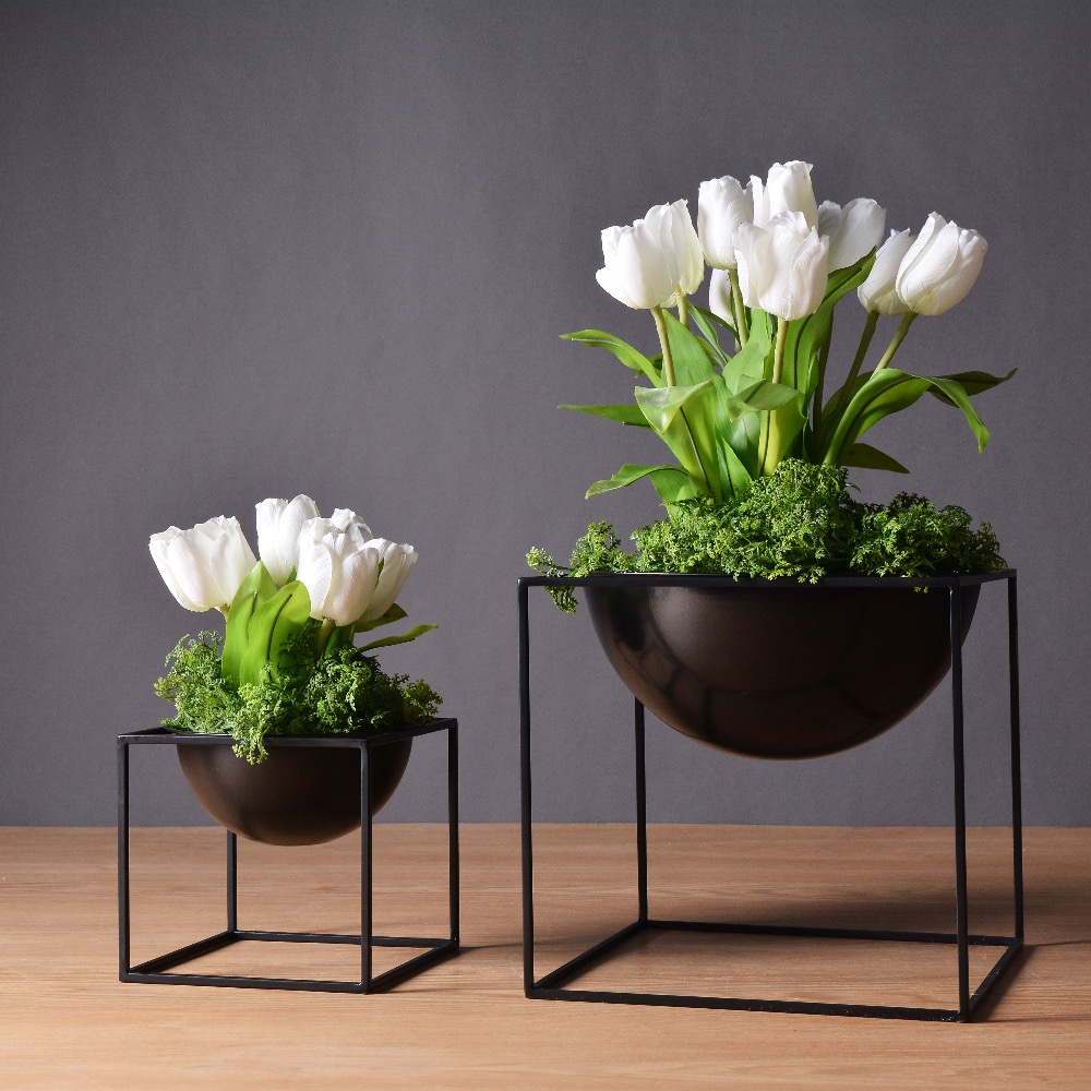KEYBOX White/Black Modern Tabletop Vase Metal Square ...