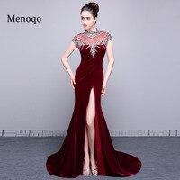 Vestidos de formatura Actual Photos Sexy Evening Gowns Side Open Cap sleeve China Luxury Beads Velvet Mermaid Prom Dresses 2019