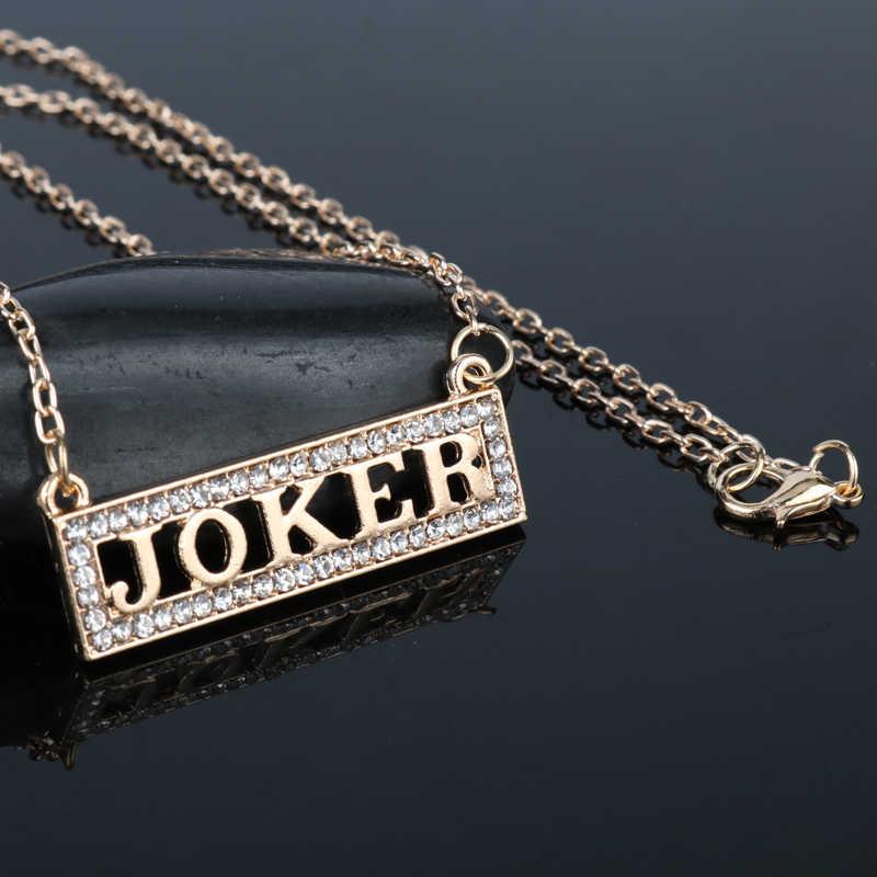 "HANCHANG Venta caliente Ladys escuadrón suicida romántico Harley Quinn collar ""Joker"" Letra de cristal colgante collar de cadena de enlace"