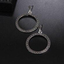 RscvonM Vintage Trendy Silver Color Hoop Earrings For Women Bohemian Statement Geometry Round Creole Earring Pierce Jewelry