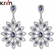 KIVN Fashion Jewelry Dangle Blue CZ Cubic Zirconia Bridal Wedding Earrings for Women Mothers Day Girls Christmas Birthday Gifts