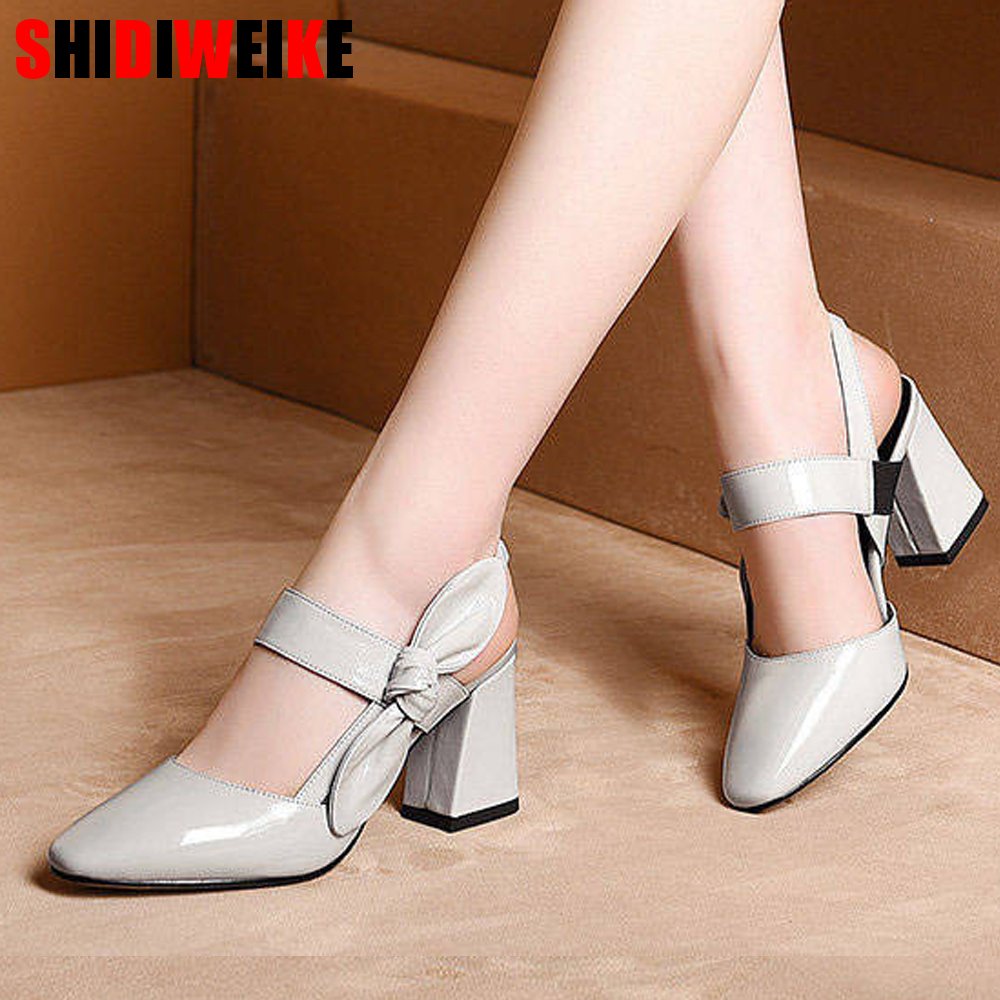 fashion Square Toe Thick high heel sandals Bow fish mouth female sandals Gray light green sandals zapatos de mujer f551