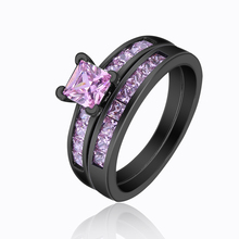 Pink Black Rings Sets Jewelry Cz For Girl Party Gift Stone Crystal Paved Zircon Women Finger Engagement