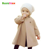 2017 New Fashion Autumn Winter Long Sleeve Baby Girl Woolen Coat Solid Kids Clothes Outwear Party