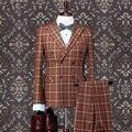 Pre Venta 100% hombres de Lana de lana de negocios formal traje de boda del novio establece Retro Inglaterra plaid coat + vest + pant los hombres trajes slim fit