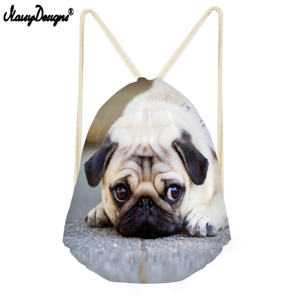 Noisydesigns Drawstring Bag Zaino Backpacks For Cute Pug Puppies Small Children Backpacks Girls Daily Sport Bags Drop Shipping