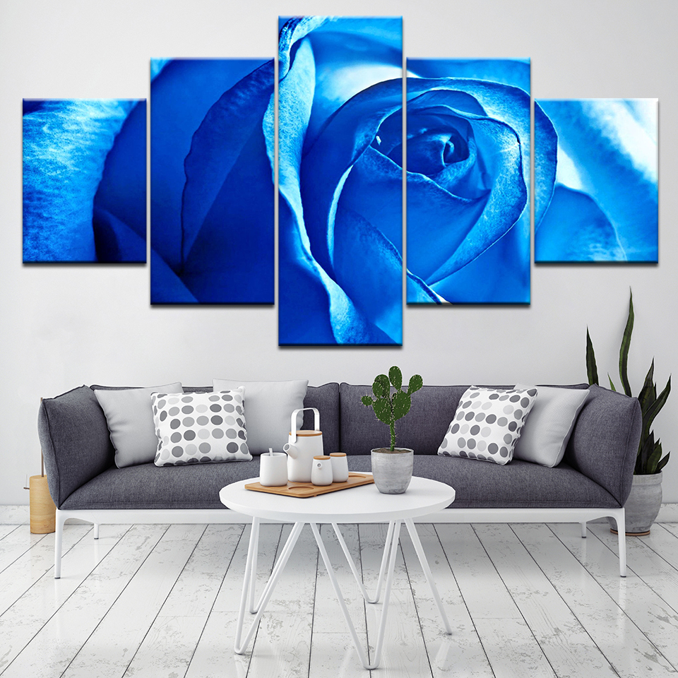 Wall Art Canvas Painting Blue Rose Flowers Wall Pictures