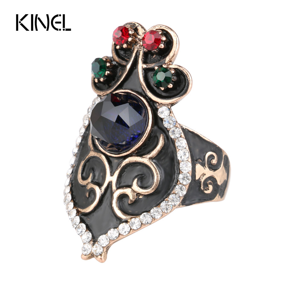 Kinel Luxury Natural Stone Vintage Antique Rings For Big Gold Color Brand Turkish Jewelry in 2017