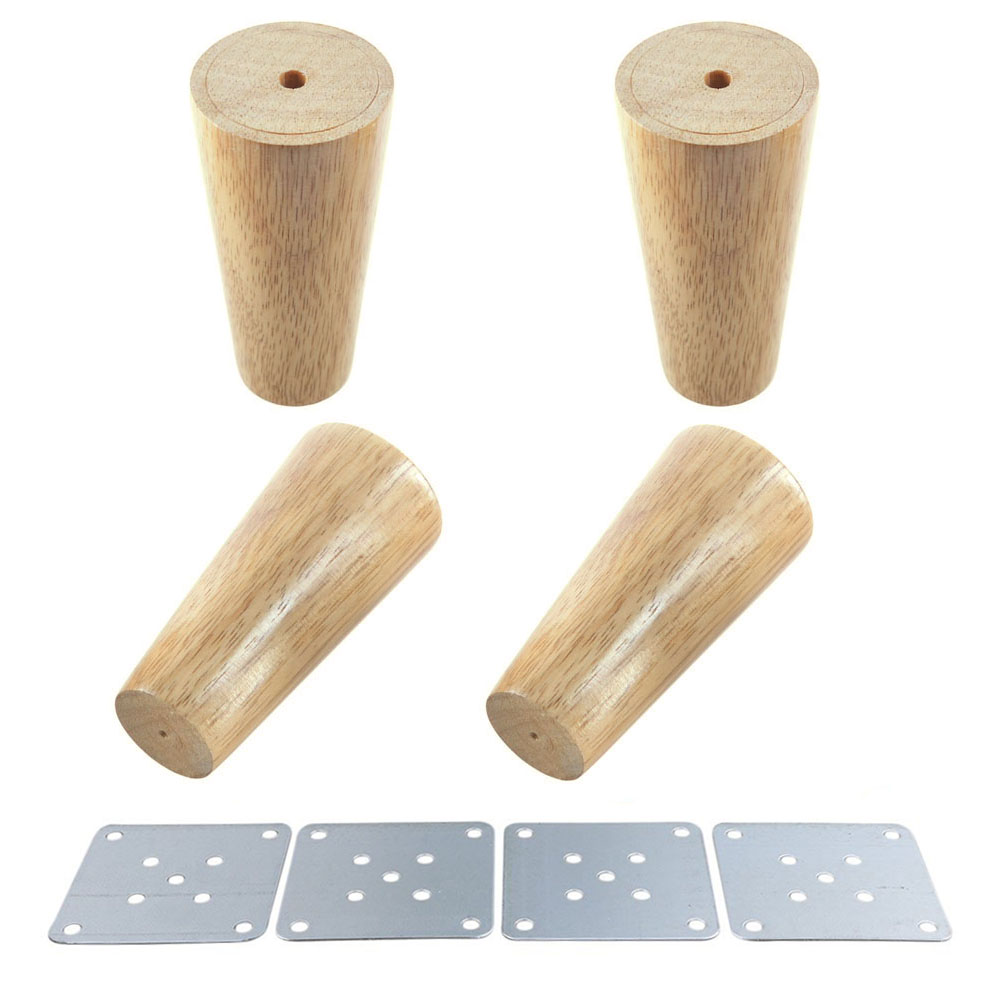 Natural Wood Reliable 100x58x38mm Wood Furniture Leg Cone Shaped Wooden Feet for Cabinet ...