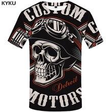 KYKU Skull T Shirt Women Anime T-shirt Punk Rock Clothes Military 3d Printed Tshirt Gothic Black Womens Clothing New Hipster Top