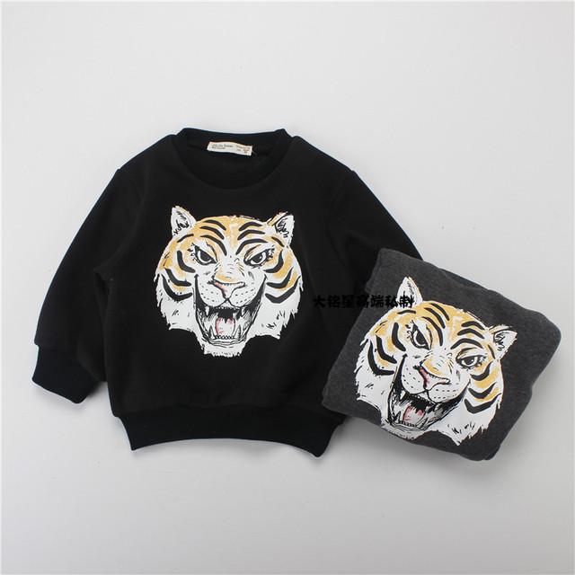 Ins niños clothing ins caliente-venta de la manera 3d tigre de impresión, además de terciopelo sudadera bebé ropa de niña ropa de los niños