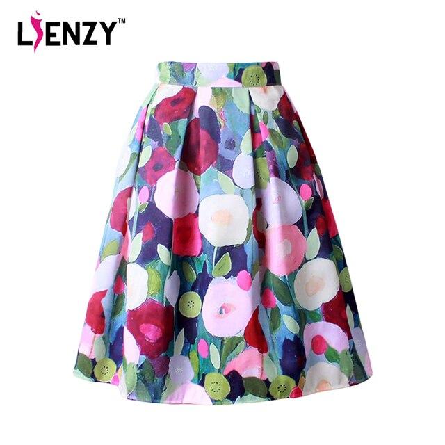 LIENZY 2016 Summer Elegant Women Midi Skirt Floral Print Oil Painting Hepburn High Waist Pattern Skater Skirt Wiht Pleated