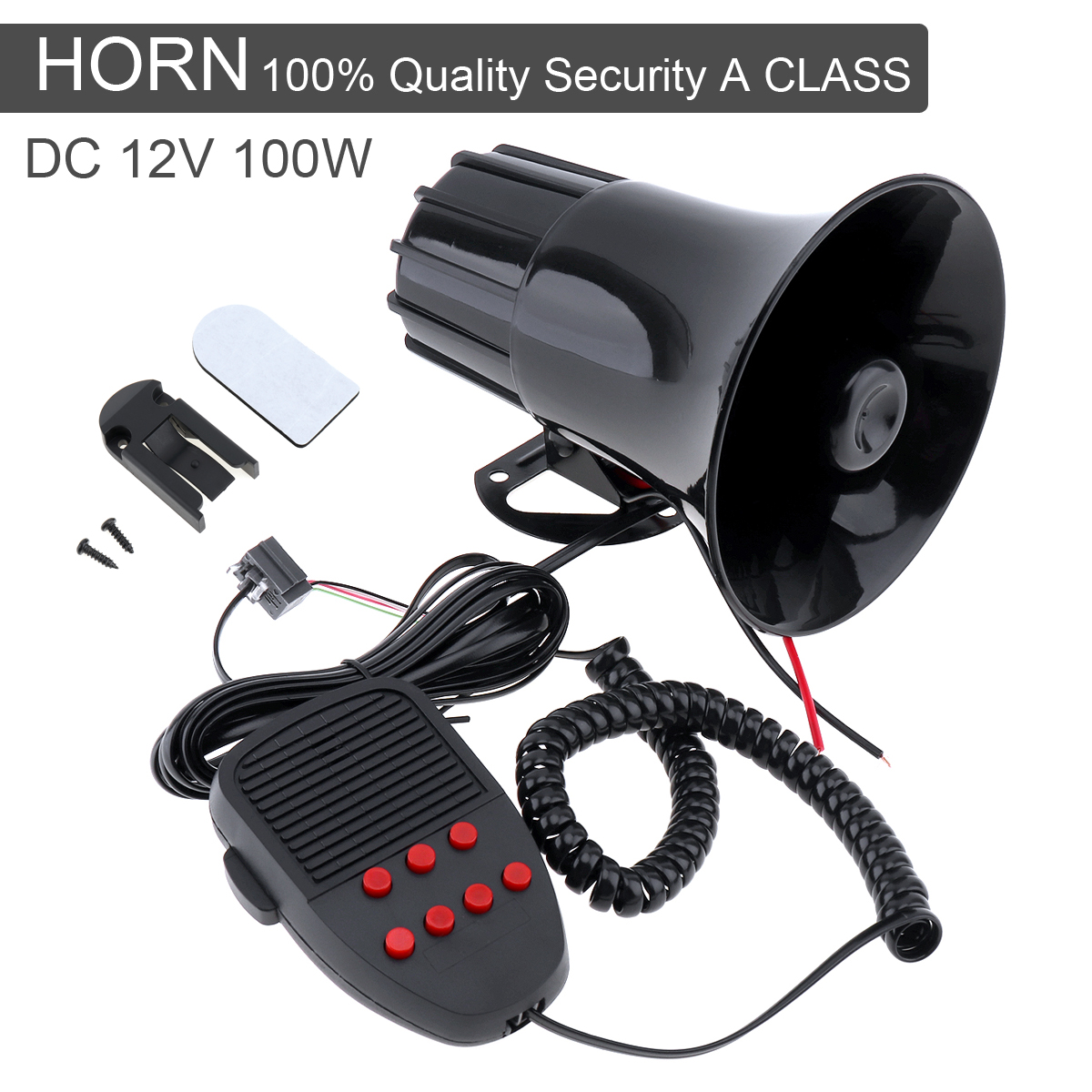 100W 12V 7 Sounds Car Truck Speaker Warning Alarm Police Fire Siren Horn Loud Sound 105db with MIC Microphone ...