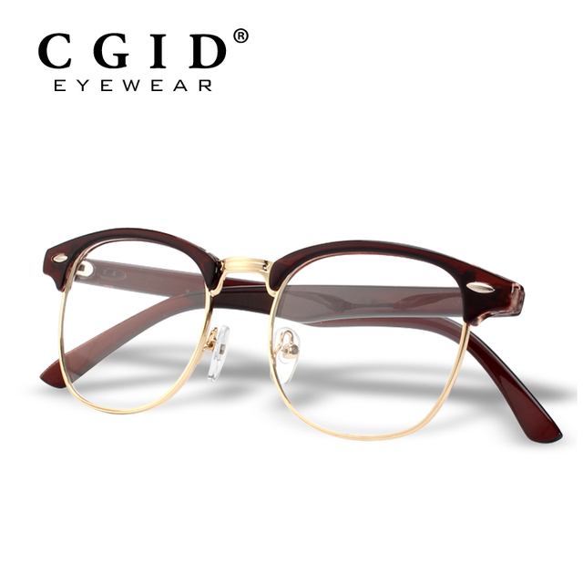 CGID Classic Style Half Metal Frame Metal Rivets with Clear Lens Glasses 100%  UV Protection