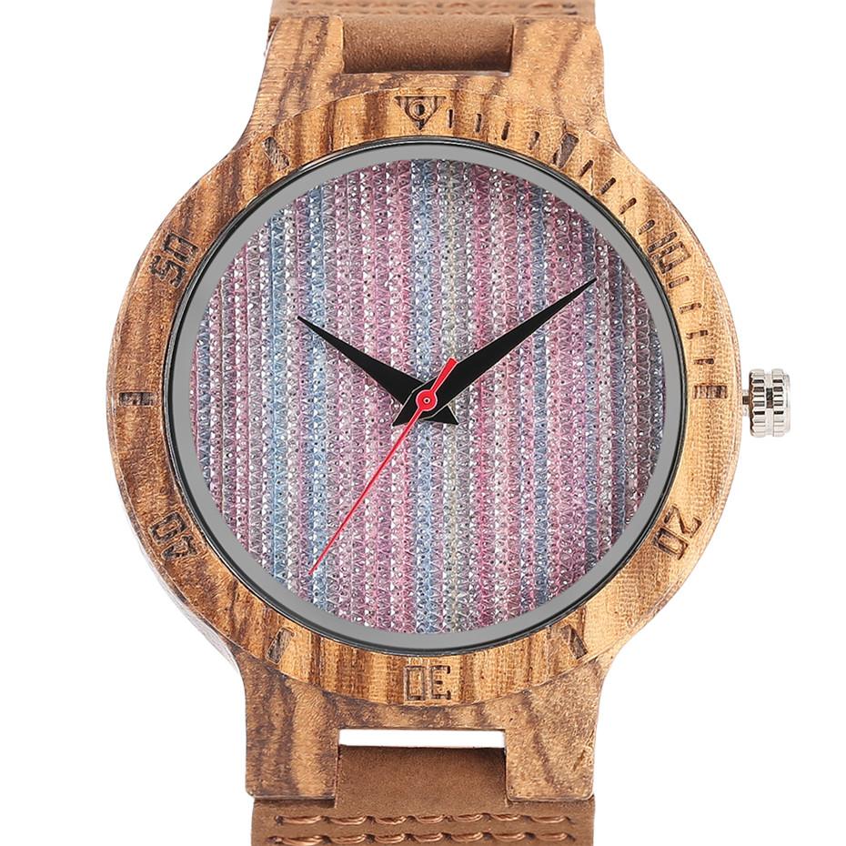 Creative Shiny Weave Bamboo Wood Watch Nature Analog Quartz Cool Men Wristwatch Women Leather Strap Bracelet Handmade Clock Gift Fashion (19)