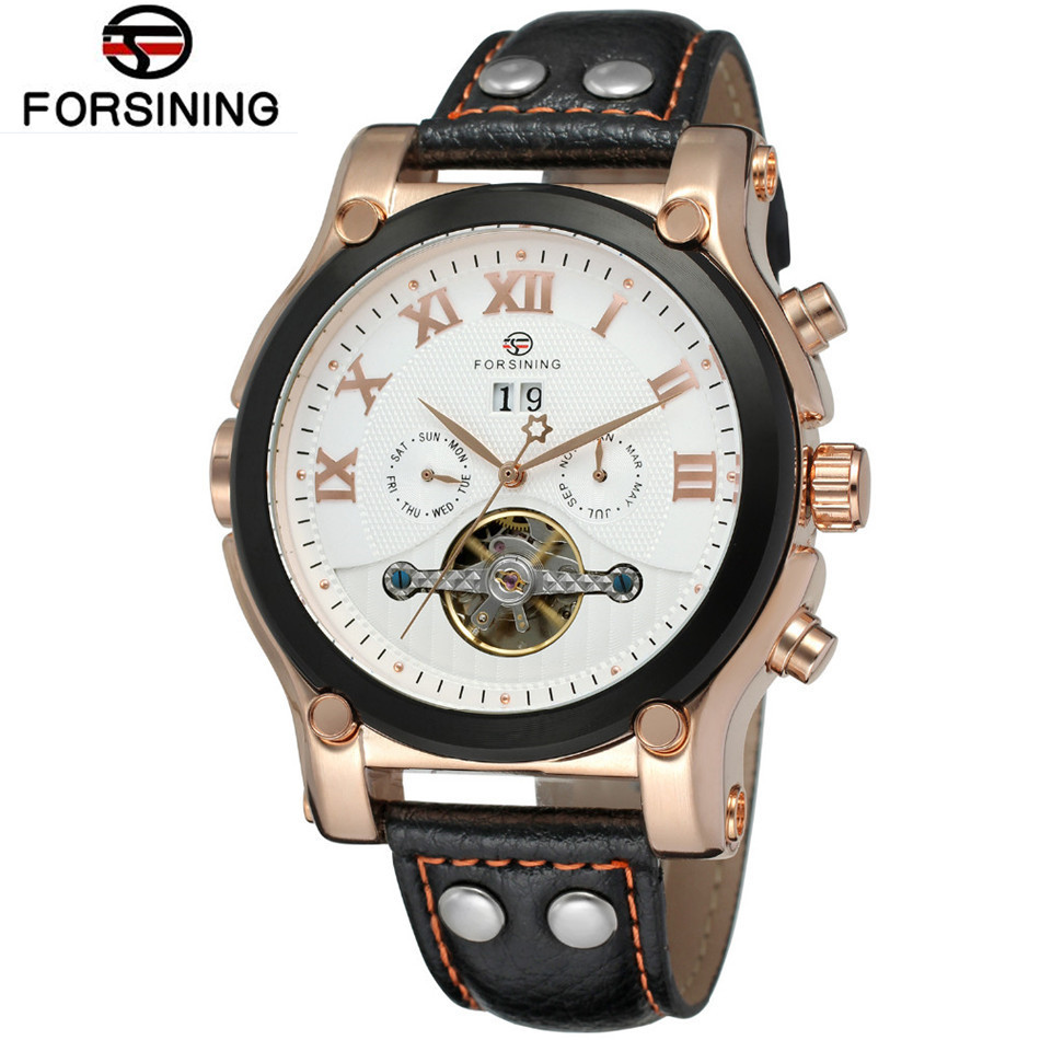 Forsining Montre Homme Mens Watches Top Brand Luxury Day/Week/24Hours Tourbillion PU Leather Wristwatch Gift Box Free Ship