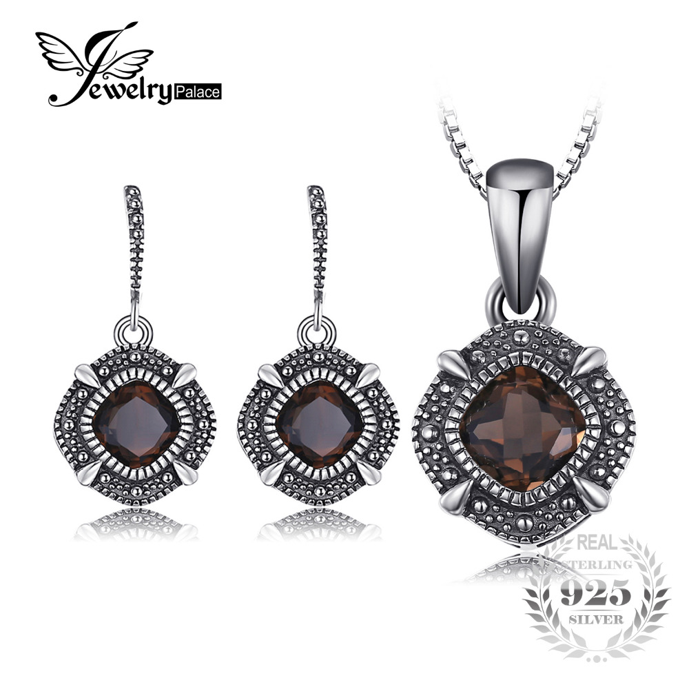JewelryPalace Vintage 1.4ct Genuine Smoky Quartz Dangle Earrings Pendant Necklace Ring Jewelry Sets 925 Sterling Silver jewelrypalace 2 55ct natural lemon quartz halo ring stud earrings pendant neckalce chain 45cm 925 sterling silver jewelry sets