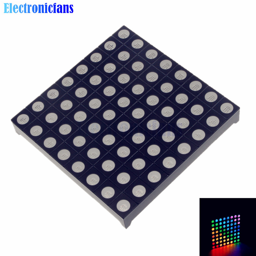 Full Color 8x8 8*8 Mini Dot Matrix LED Display Red Green Bule RGB Common Anode Digital Tube Screen For Diy 60mmx60mmx5mm