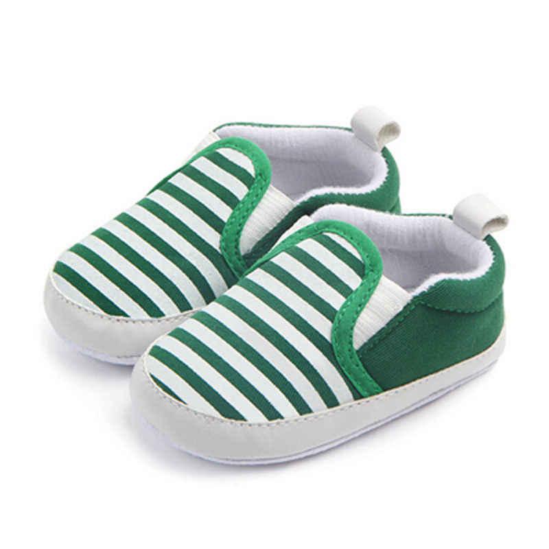 2017 חדש לגמרי Pram יילוד פעוט תינוק בנות בני ילדים תינוקות ראשון הליכונים פסים קלאסי נעליים מזדמנים רך נעליים