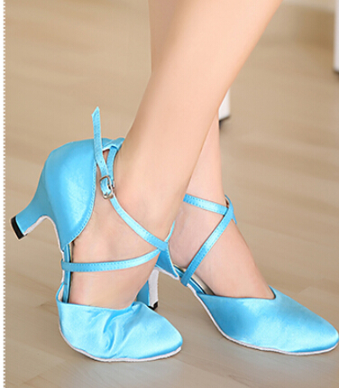 New Free Shipping Blue Satin Closed Toe Dance Shoe Ballroom Salsa Latin Waltz Tango Bachata Dancing Shoes ALL Size