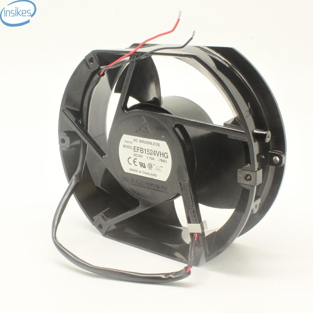 Original EFB1524VHG Blower Fan DC 24V 1.7A 172*150*51MM DC 24V Cooling Fan 1.70A 2 Wires Inverter Fan sxdool mds c1 v1 fan nc5332h44 mmf 09d24ts rn9 dc 24v 0 19a server inverter cooling fan