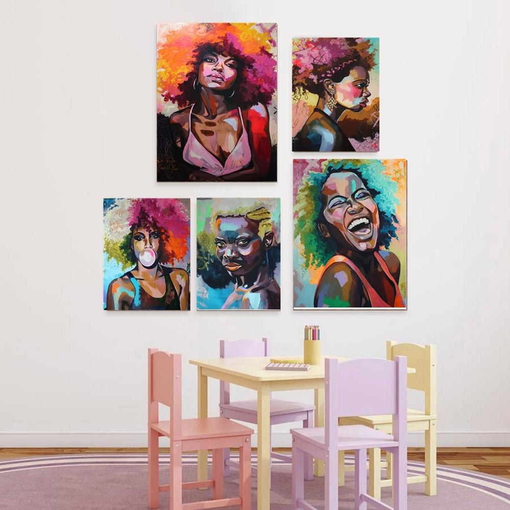 Afro mujer retrato Lona de arte de pared de impresión abstracta de chica africana de pinturas para oficina casa habitación decoración de la pared de la gota nave