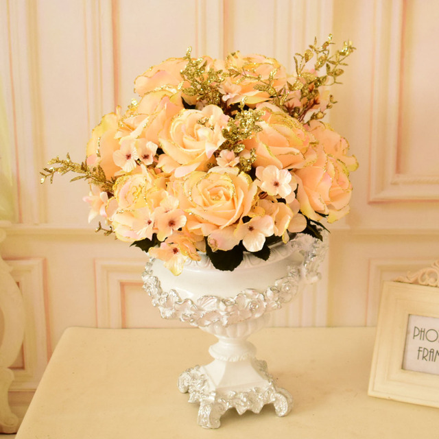 Golden Paillette Silk Rose Artificial Flowers Bouquets for home ...