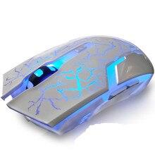Тихая Mute Перезаряжаемые Беспроводной Мыши экономить электроэнергию светящиеся игровых мышей для настольного компьютера Записные книжки офисные