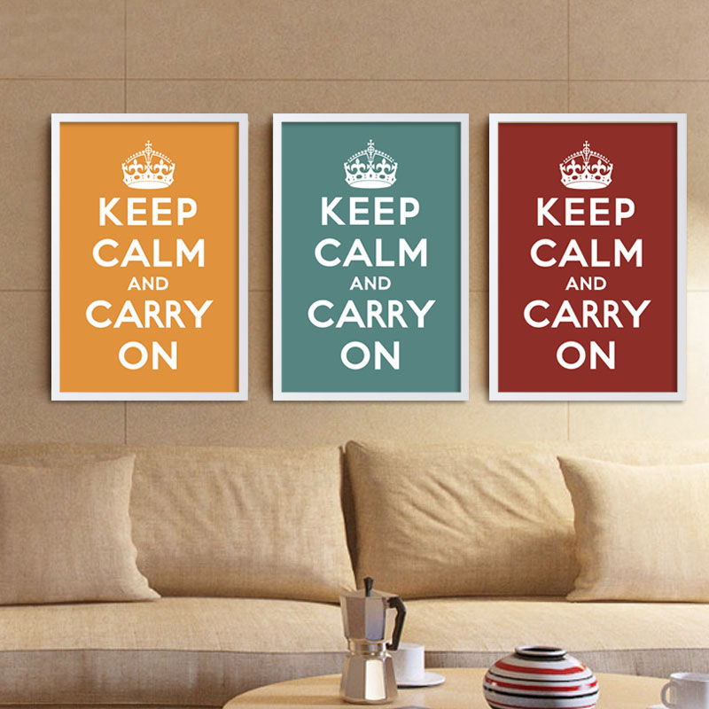 Canvas Art Print Poster Keep Calm And Carry On Inspired Quotes Saying Wall Decor Office Home Decoration Frames Not Included In Painting Calligraphy From