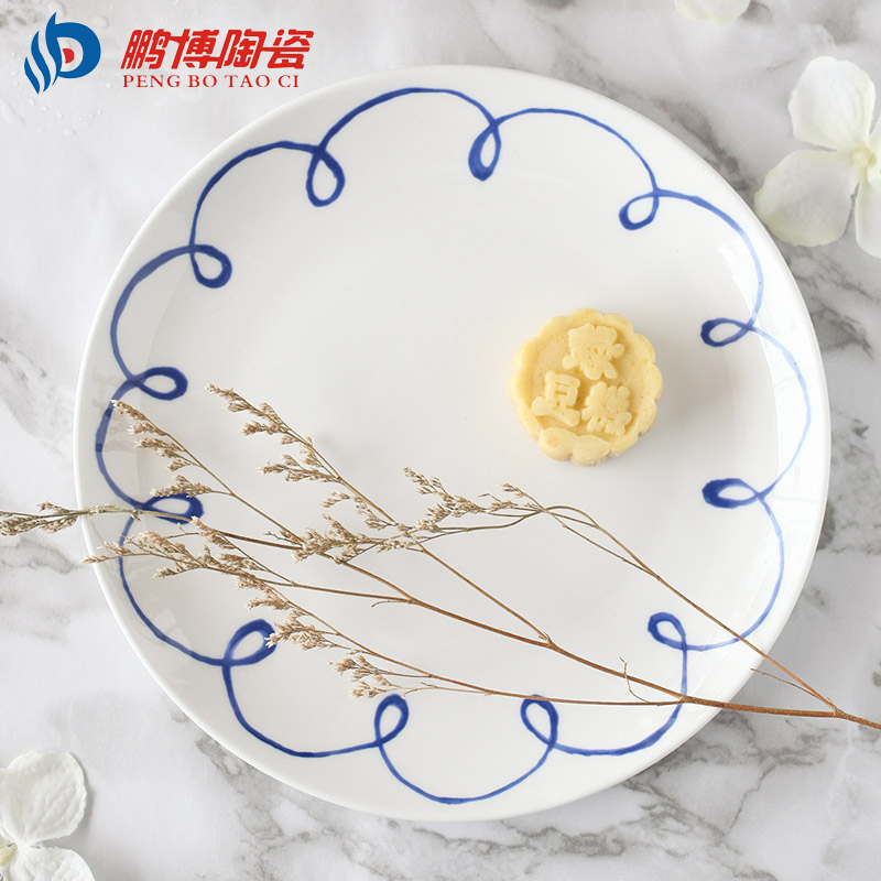 ᗖnew Design White And Blue Ceramic Ceramic Dish Plates