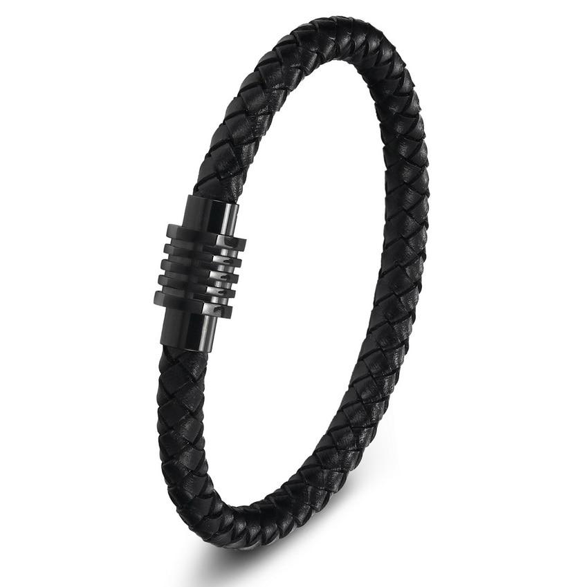2017 New Top Stainless Steel Bracelets For Women Men Genuine Leather Bracelets & Bangles Pulseiras Masculina Men Jewelry