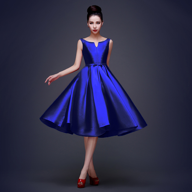 0d553878 New Elegant Simple Taffeta Tea-Length Royal Blue Homecoming Dress Plus Size  Lace Up Short