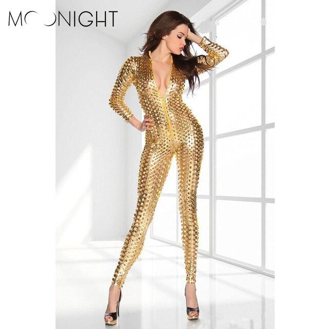 MOONIGHT Ahueca Hacia Fuera Monos Mujeres Mamelucos Clubwear Monos Sexy Rendimiento Reflexivo Ropa de Club de Noche Del Oro/Plata/Negro