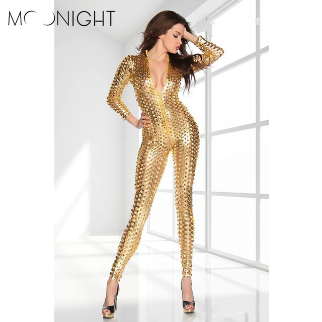 MOONIGHT Hollow Out Jumpsuits Women Rompers Clubwear Sexy Jumpsuits Performance Reflective Clothes Night Club Gold/Silver/Black