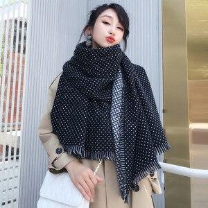 Image 2 - Winter Scarves Women Fashion Black White Polka Dot Pashmina Fringed Brim Shawl Oversized Tippet Ladys Fluffy Cashmere Bufandas