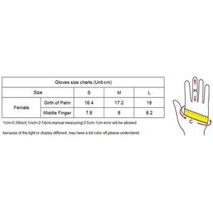 Image 5 - المرأة جلد طبيعي قفازات جلد الغنم الأسود خمسة أصابع قفازات الشتاء سميكة الدافئة الأزياء القفازات جديد BW015