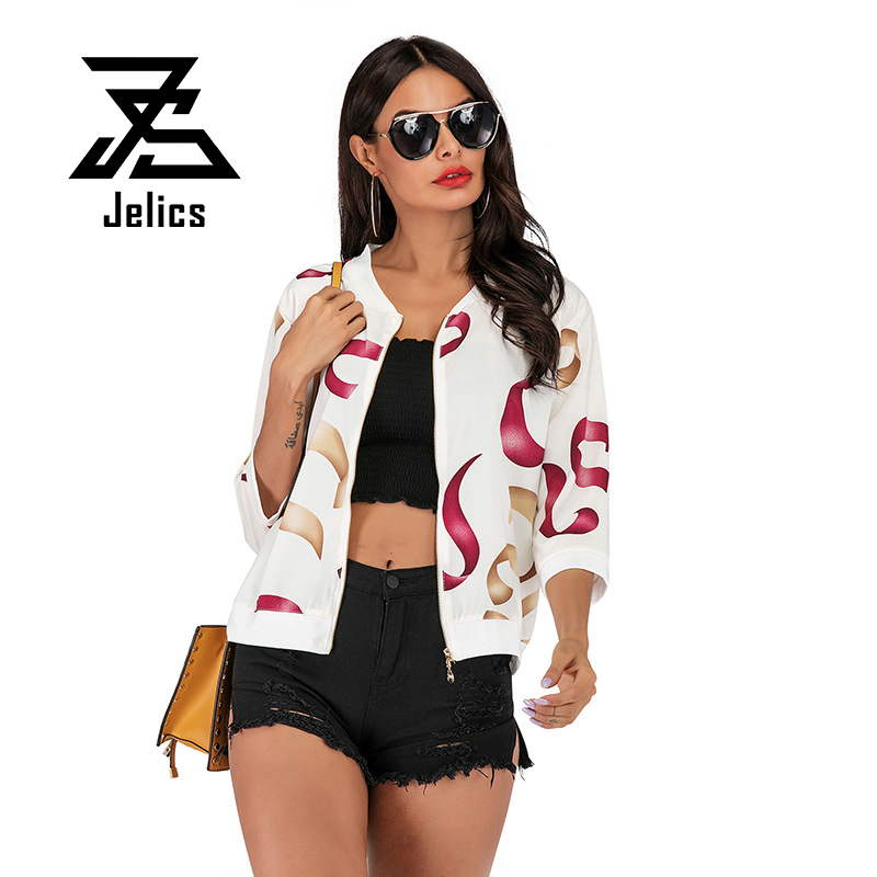 Jelics Summer Fashion Streetwear   Basic     Jacket   Women Printed Zipper Thin Sun Protection Coat Outwear