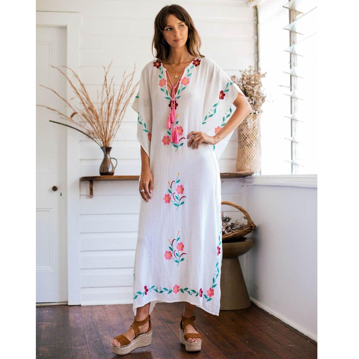 Jastie Broderie Florale Kaftan V-cou Manches Chauve-Souris blouse ample Boho robe d'été Hippie Chic robe de plage robes de femmes Robes