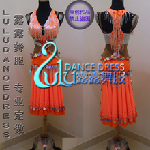 New Latin skirt Orange Latin dress Silver Bead tube latin dance dress