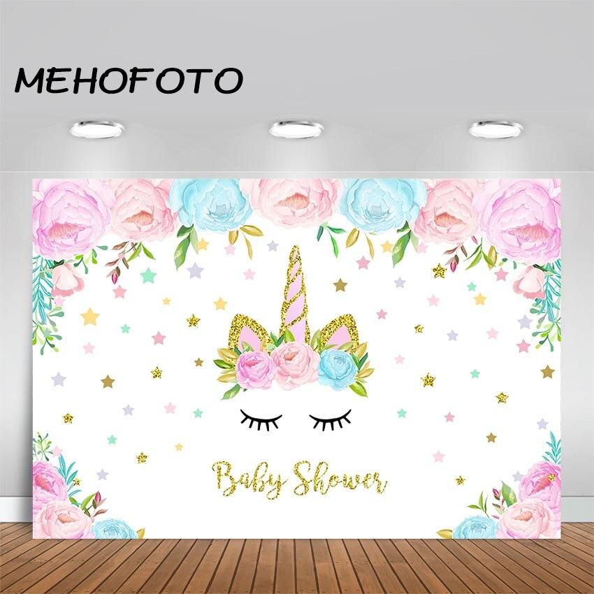 Unicorn Backdrop Princess Baby Shower Pink Flower Golden Stars Unicorn Party Birthday Decor Photography Backdrops Photo Booth