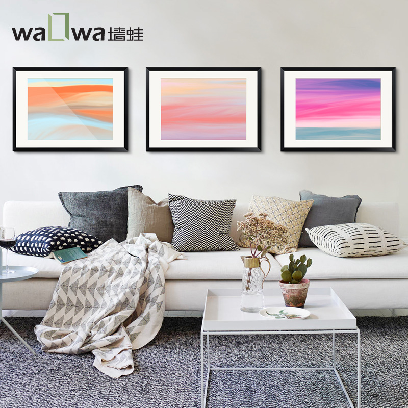 The wall color frog symphony of modern living room decoration painting fresh and simple backdrop of abstract painting watercolor