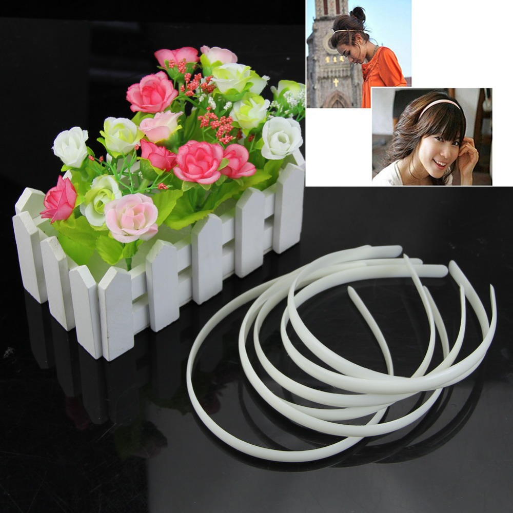 12Pcs White Fashion Plain Lady Plastic Hair Band Headband No Teeth Hair DIY Tool