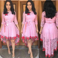 IMYSEN 2018 Summer Rose Lace Dress Women O Neck White Pink Long Sleeved Ladies Dresses