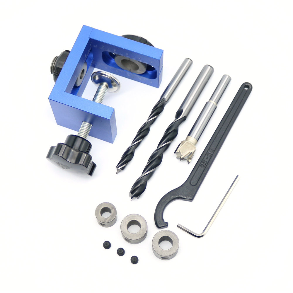 Wood Tools Woodworking Pocket Hole Locate Punch Jig Kit + Step Drilling Bit Wood Tools Set